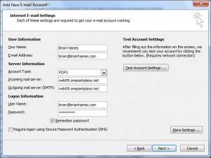 POP3 Mail setup Outlook 2007